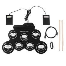 Slade Electronic Digital USB 7 Pads Roll up Set Silicone Electric Drum Kit with Drumsticks and Sustain Pedal