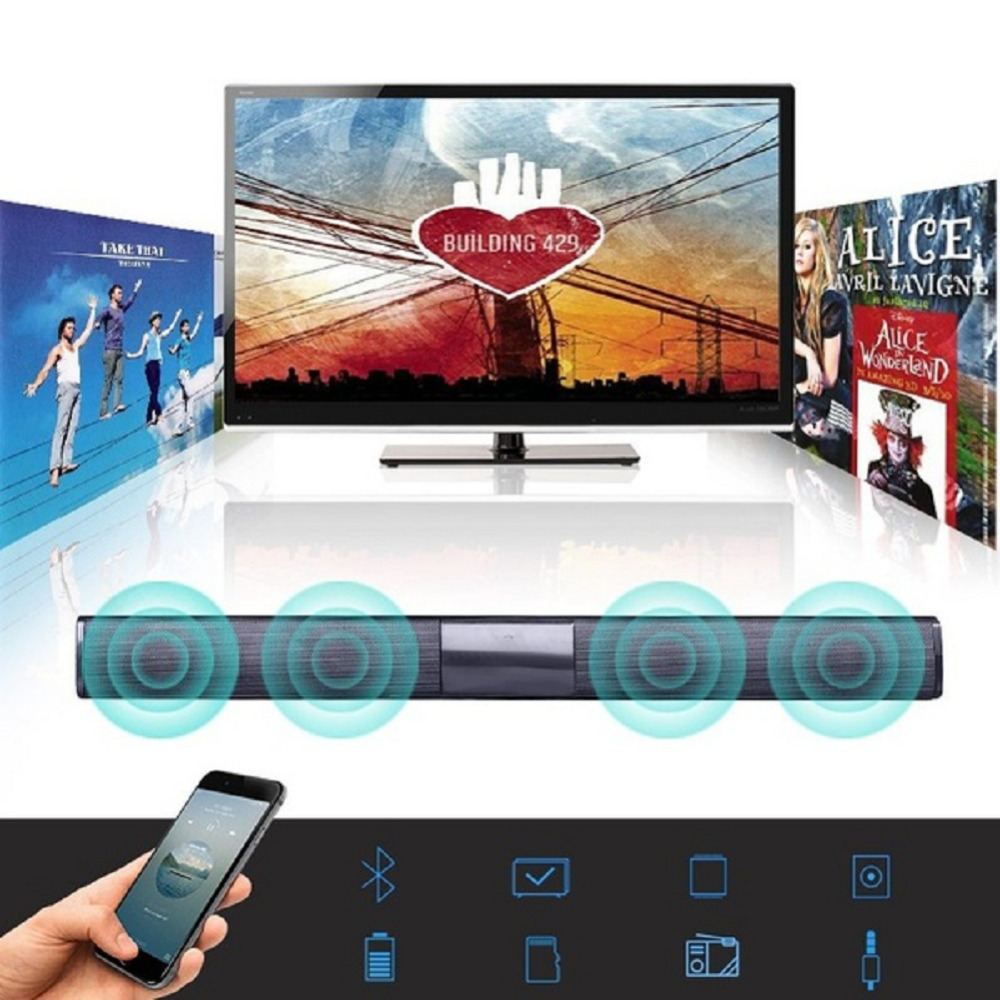 20W Soundbar Subwoofer Wireless Bluetooth Speaker Column Sound Bar FM Radio with Remote control For TV Computer iPhone Android