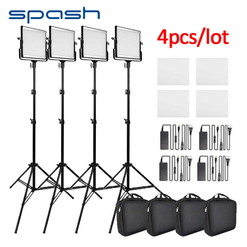 spash L4500 4pcs/lot Photographic Lighting LED Video Light Bi-color 3200K-5600K CRI95 Photo Lamp with Tripod Studio Camera Light