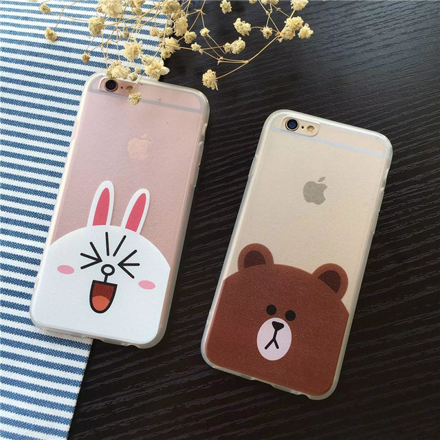 promo code f9d95 8817b US $2.49 |Cartoon Line Friends Brown and Cony Bear and Rabbit Silk PC Hard  Back Cover Case For iPhone 5/5S/SE/6/6S/6 PLUS/6S PLUS/7/7 Plus on ...