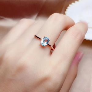 Image 5 - Natural aquamarine ring, 925 silver, simple style, 1 carat gems, clean quality, cheap price