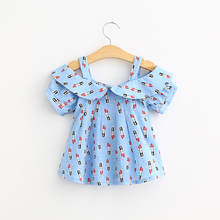 Girls summer dress shirt lipstick pattern female baby cotton sling short sleeved blouse