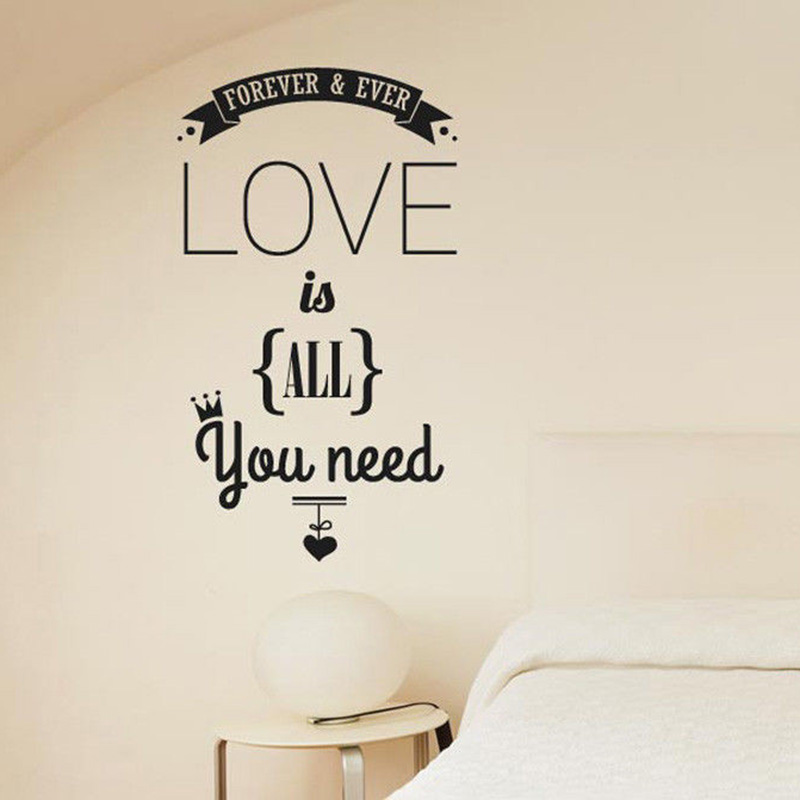 YOYOYU Vinyl Wall Decal Forever And Ever Love Is All You Need Inspiration Quotes Interior Decoration Stickers FD195 image