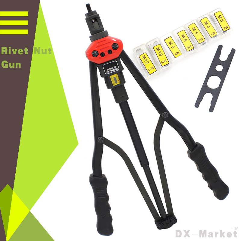 Rivet Nut Gun Riveting Tool , High Strength Tools With Wrench And Mounting Head M3 M4 M5 M6 M8 M10 M12