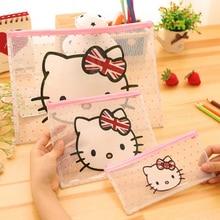 2pcs/lot Cartoon Cute Kitty Cat PVC File Bag Transparent File Bag Pen Bag Information Paper Clip A4 File Bag cartoon elephant clear file bag