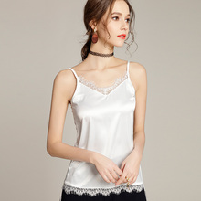 Fashion Silk Tops Women Tank Strapless Satin Sexy Lace Sleeveless Top Plus Size XXL Ladies Camisole Bottom Shirt