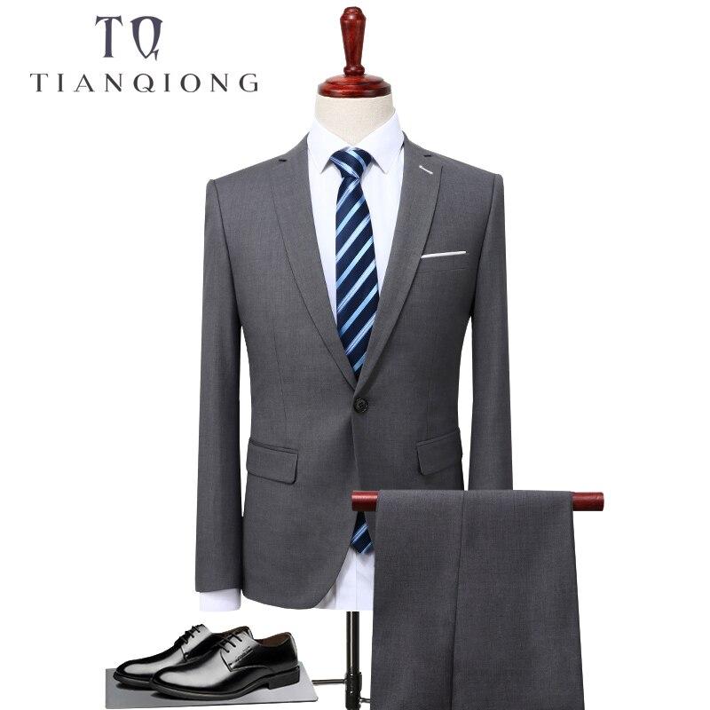 TIAN QIONG 2 piezas trajes hombres coreano último abrigo pantalones diseños gris hombres traje Otoño Invierno grueso Delgado Fit boda vestido esmoquin-in Trajes from Ropa de hombre    1