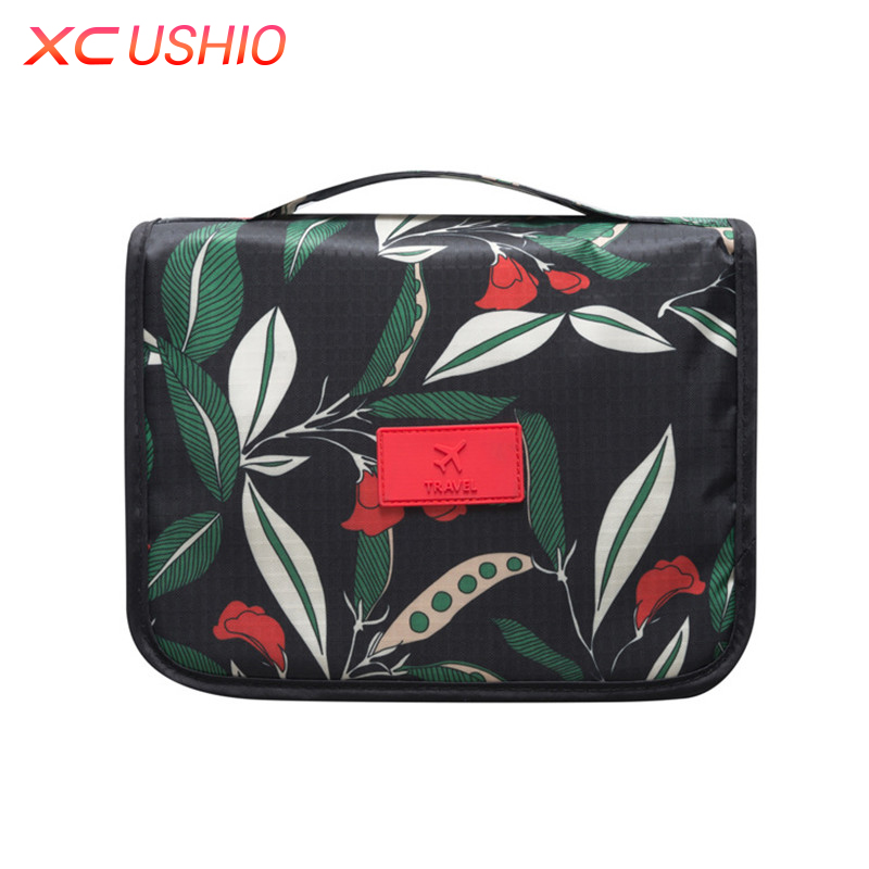 Floral Pattern Travel Toiletry Bag Women Hanging Cosmetic Bag Multifunctional font b Makeup b font Organizer