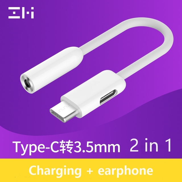 ZMI 2 In 1 Usb Type C To 35mm Aux Audio And Charger Cable Adapter For Xiaomi Mi 5 6 6x 8 Note 3 Max Mix 2s Headphone Converter