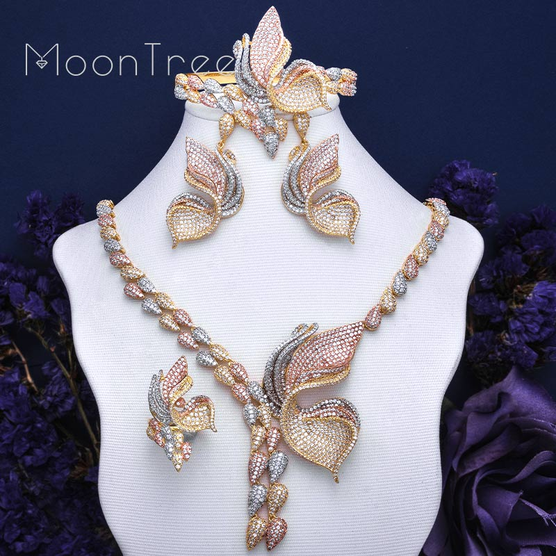 MoonTree Luxury Butterfly Full Cubic Zirconia Pave Wedding Copper Necklace Dangle Earring Ring Jewelry Sets For Women moontree luxury flower lily full micro aaa cubic zirconia copper pendant necklace dangle earring sets women party bijuterias