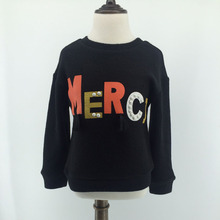 Girls Sweater 2017 autumn spring black good quality brand children's clothing for 2 3 4 5 6 7 8 9 10 years old girl tops