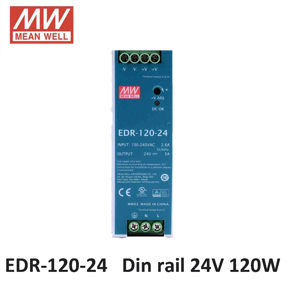 Mean Well EDR 120 24 AC DC Mini size 120W 24V 5A Industrial DIN Rail Power