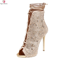 כוונה מקורית סופר מדהים נשים מגפי קרסול דקים בוהן ציוץ עקבים גבוהים אישה נעלי מגפי זהב כסף בתוספת גודל ארה
