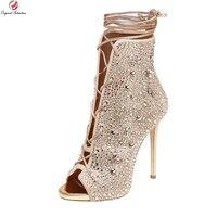 Gốc Ý Định Siêu Tuyệt Đẹp Phụ Nữ Mắt Cá Chân Khởi Động Peep Toe Mỏng cao Gót Giày Bạc Vàng Giày Người Phụ Nữ Cộng Với Kích Thước MỸ 3-10.5