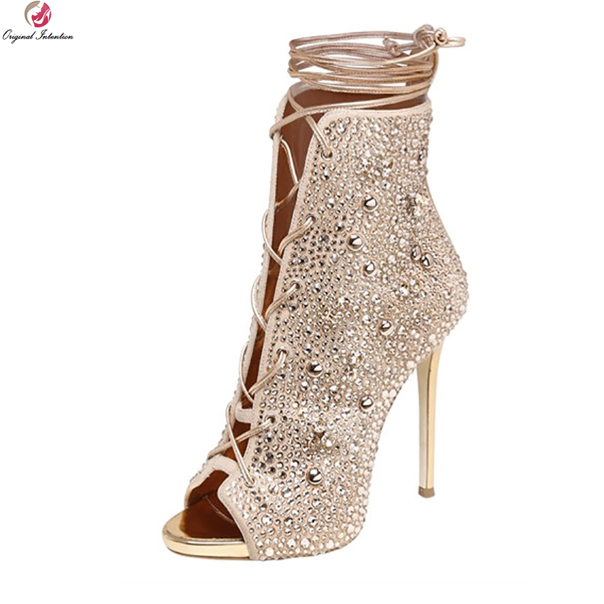 Original Intention Super Gorgeous Women Ankle Boots Peep Toe Thin High Heels Boots Gold Silver Shoes Woman Plus US Size 3-10.5 fashion ankle high women boots peep toe chunky heels real image plus size 14 shoes women boots for women short boots open toe