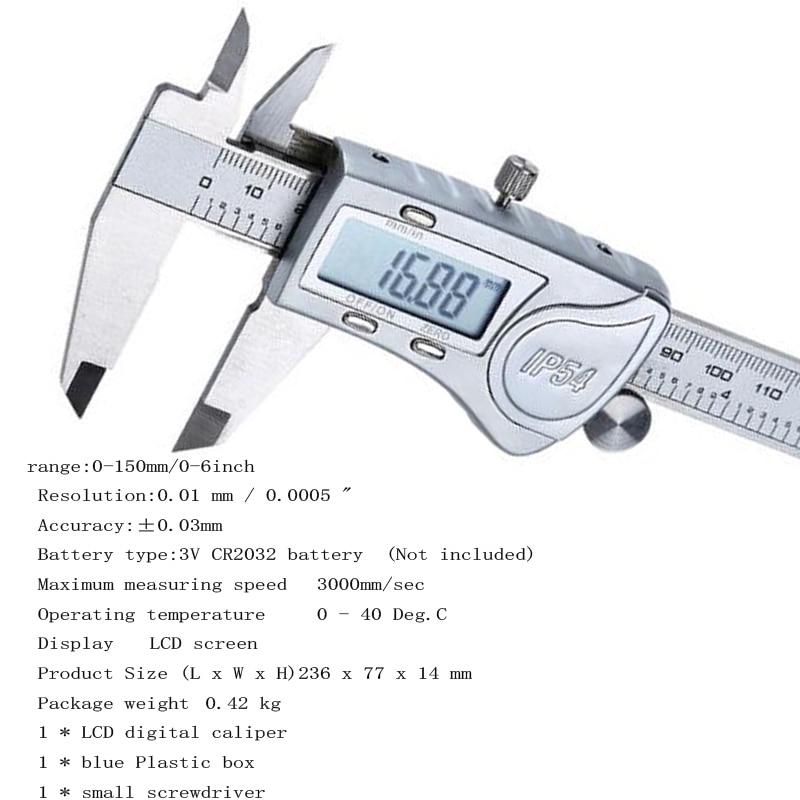 Professional 6/'/' Digital Caliper 150mm Micrometer Electronic Gauge Ruler MeterUS