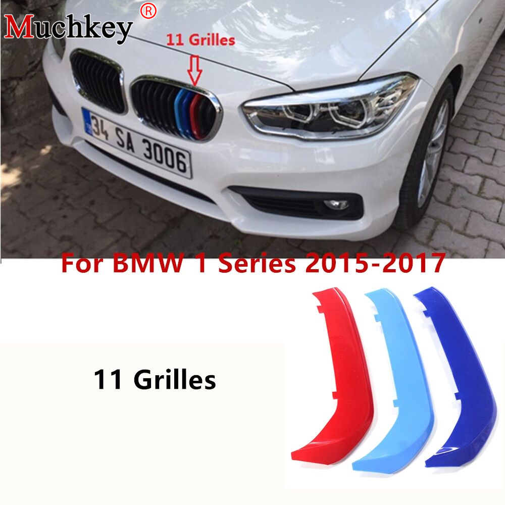 3D M Auto Car Front Grille Trim Strips Grills Cover Performance Decoration Stickers For BMW 1 Series 2015 2016 2017 11 Grilles image