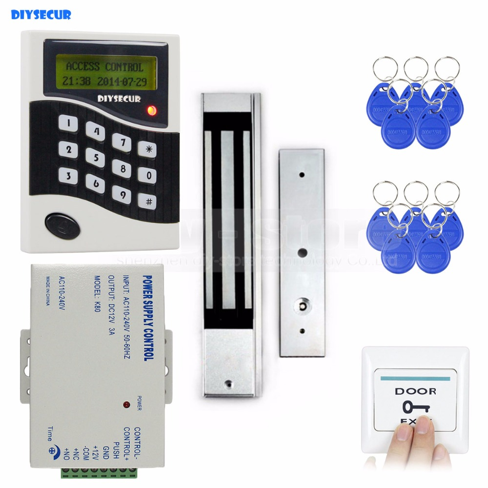 DIYSECUR RFID ID Card Keypad Door Access Control System Kit +Electric Magnetic Door Lock +Free 10 ID Key Fobs B100 diysecur rfid 125khz id card password metal keypad access control security system kit magnetic door lock remote control