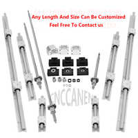 6 Set SBR16 Linear Guide Rail + Ballscrews RM1605 SFU1605 Ball Screws + BK/BF12 + Nut Housing + Couplers For CNC Parts