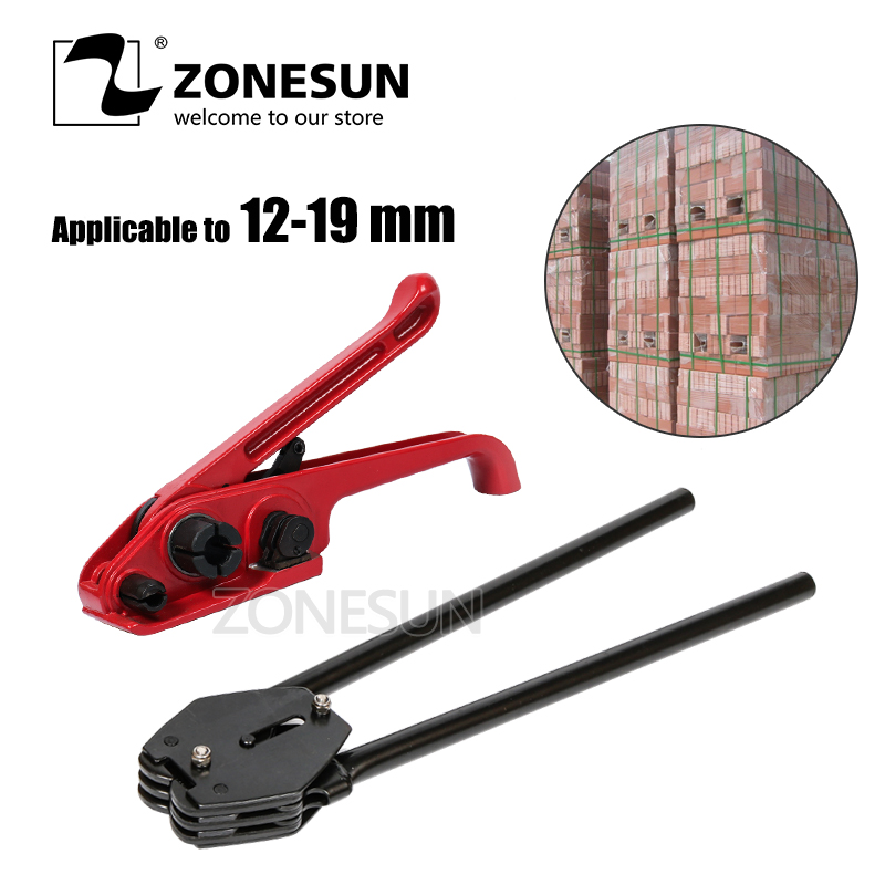 ZONESUN Manual strapping tool PP/PET 12mm 13mm 16mm 19mm strapping machine hand tool set strapping plier tensioner cut sealless zonesun long hand pp pet plastic strapping cutter for pp pet strapping belt band tensioner and sealing max cut 16mm