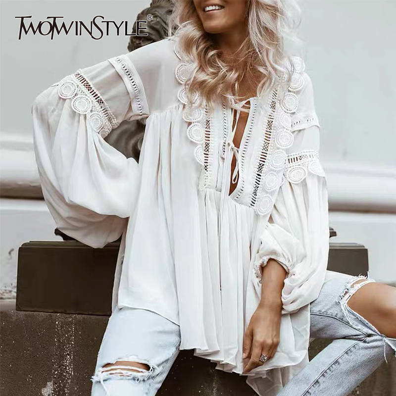 TWOTWINSTYLE Lace Patchwork Shirt For Women V Neck Lantern Sleeve Hollow Out Lace Up Perspective Blouse Female Fashion 2019