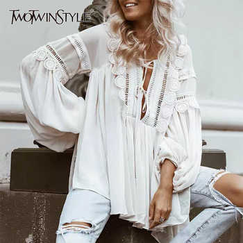 TWOTWINSTYLE Lace Patchwork Shirt For Women V Neck Lantern Sleeve Hollow Out Lace Up Perspective Blouse Female Fashion 2019 - DISCOUNT ITEM  39% OFF All Category