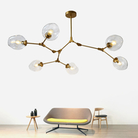1/3/5/6/7/8 Heads Globe Branching Bubble Ceiling Light Retro Multiple Rod Wrought Iron Ceiling Lamp For Home bedroom Cafe Bar