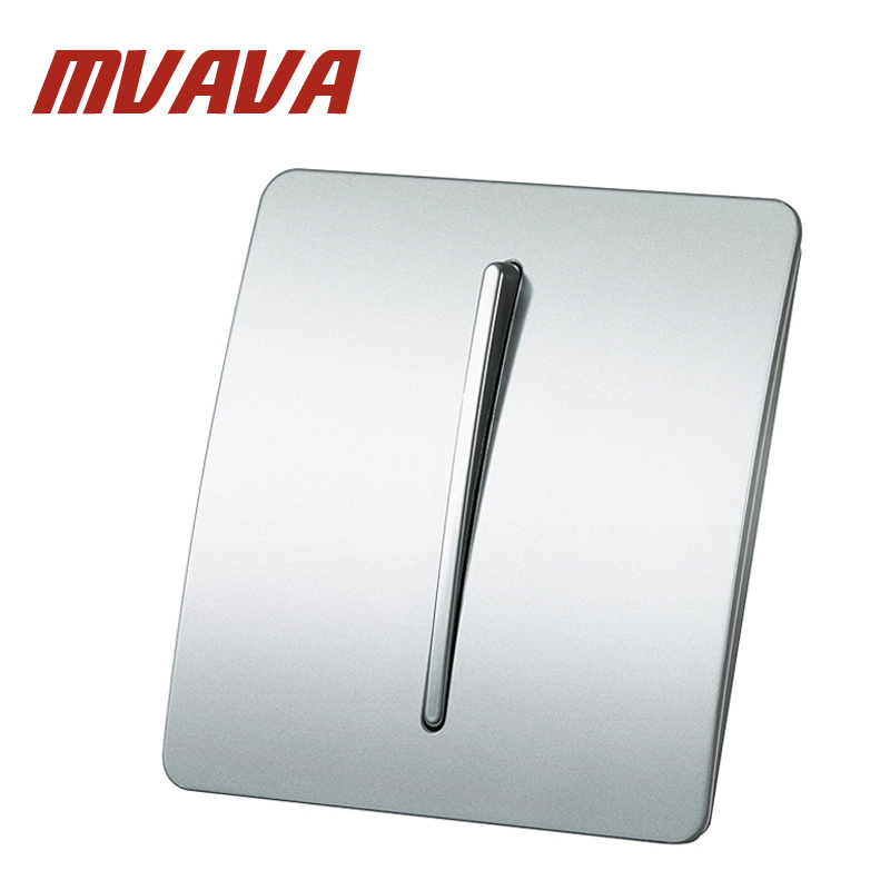MVAVA 1 Gang 2 Way Wall Switch Panel Luxury Electric Key Push Button 110~250V 220V Light Control Switches 86*86 Free Shipping free shipping polo luxury wall light switch panel 3 gang 2 way champagne black push button led switch 16a 110 250v 220v