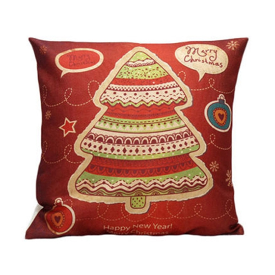 Christmas flax Throw Pillowcase Case, Christmas Tree Red+orange