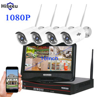 Hiseeu 10 Inch Displayer 4CH 1080P Wireless CCTV System Wireless NVR 2MP IP Camera Waterproof Home