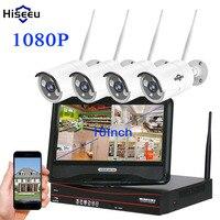 Hiseeu 10 Inch Displayer 4CH 1080P Wireless CCTV System Wireless NVR 2MP IP Camera Waterproof Home