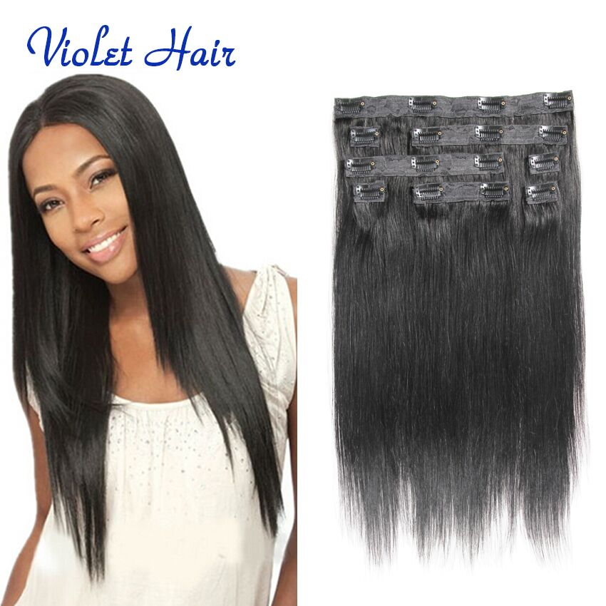 African American Clip In Human Hair Extensions8a 8pcs Clip In Hair
