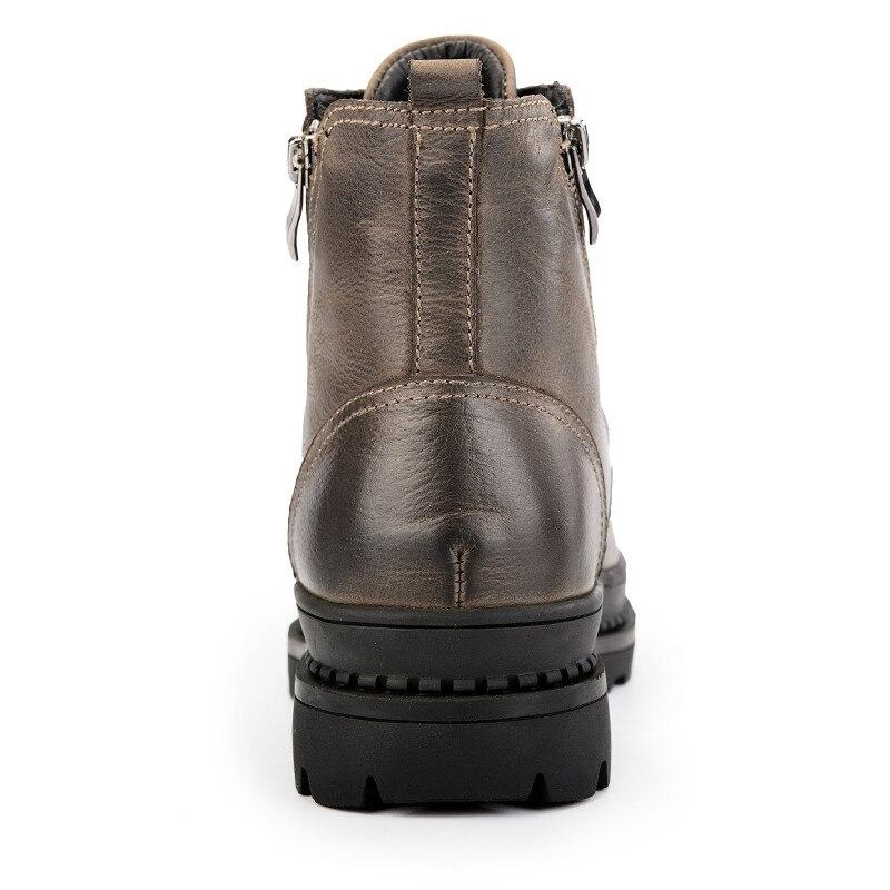 CcharmiX Big Size 38 47 Mannen Laarzen Lederen Winter Laarzen Schoenen Mannen Warm Furry Rits Laarzen Mannen Mode enkel Snowboots-in Eenvoudige Laarzen van Schoenen op  Groep 3