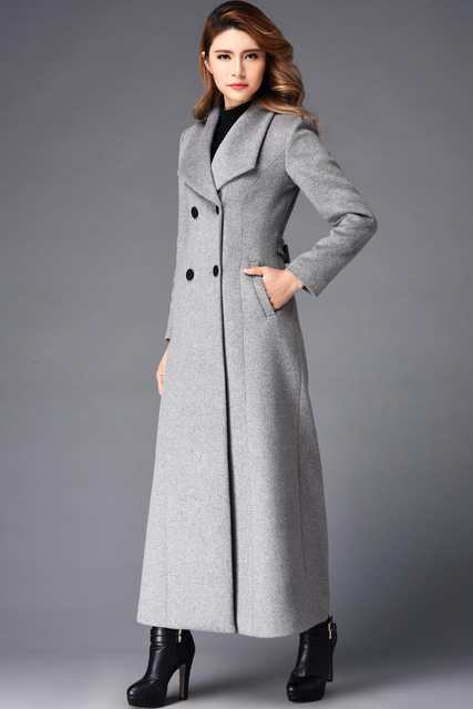7b8d7acde3a 2018 winter x long wool coat women high-end quality woolen overcoat stand  collar Double button classic design