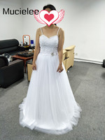 Spaghettibandjes Applique Kralen Strand Trouwjurk Lage Corset Lace Trouwjurken Turkije 2017 Vestido de Casamento