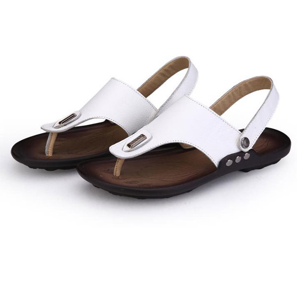 lo último 138aa 9772e US $49.22 |Genuine Leather Summer Flip Flops Shoes For Men Sandals Slippers  Fashion Casual Beach Shoes Soft Zapatos Hombre Chaussure Homme-in Men's ...