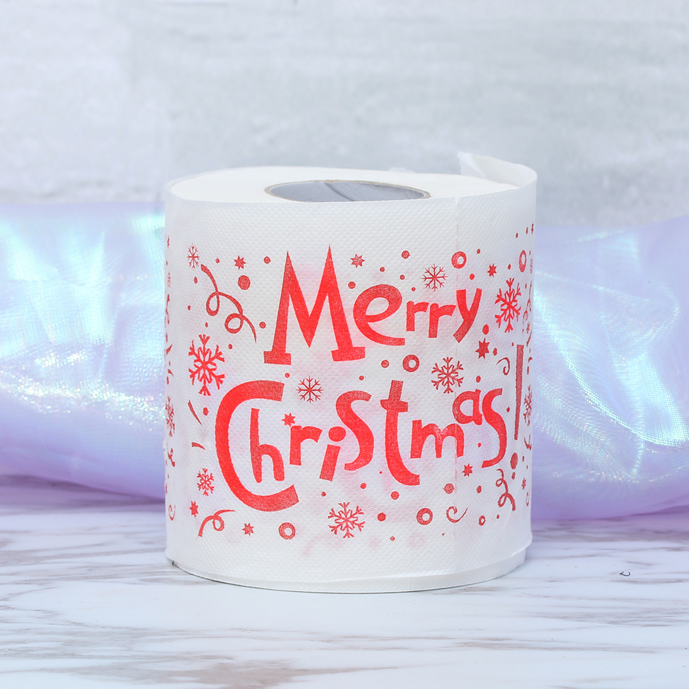 1 Roll Merry Christmas Printed Toilet Paper Bath Living Room Toilet Paper Tissue Roll Xmas Decor Funny Gifts Christmas Supplies