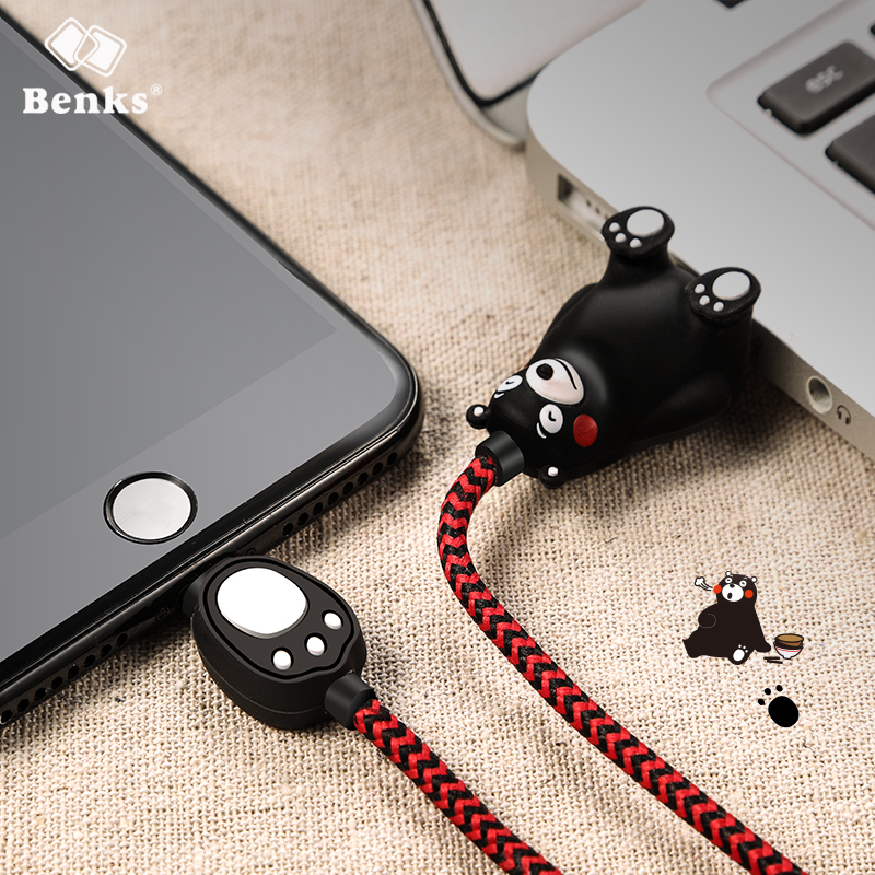 Benks Phone Usb Cable For iPhone 5 5s 6 6s Plus Cute Nylon-braided Fast Charging Charger Cable Usb For iPhone X Fashion Design