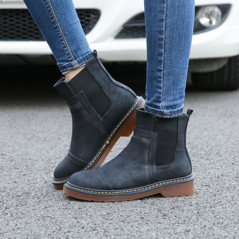 High Quality Plus Size Women Ankle Boots Soft Leather Flat Shoes Woman Botas 2018 Fashion Round Toe Martin Boots Autumn Winter стоимость