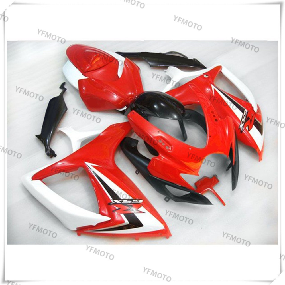 Motorcycle ABS Hot Red+Black Fairing Body Work  Cowling For SUZUKI GSXR600-750 GSXR 600 750 K6 2006-2007 +4 Gift new motorcycle ram air intake tube duct for suzuki gsxr600 gsxr750 2006 2007 k6 abs plastic black