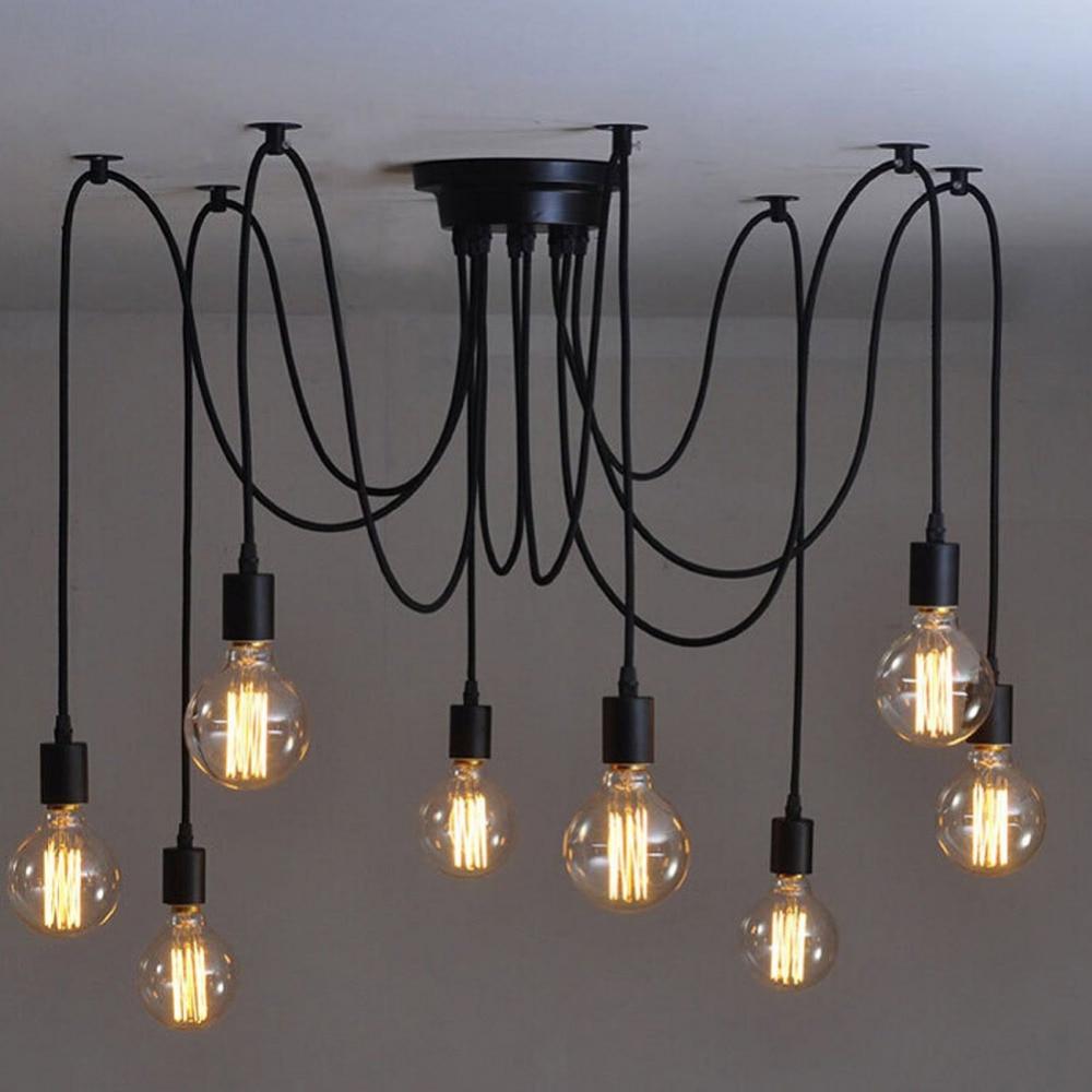 6 8 Heads Vintage Pendant Light Amercian Black Lamp E27 40W Retro Lights Living Room Kitchen Dining