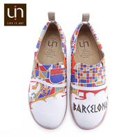 UIN Colorful Barcelona Design Painted Casual Men Shoes Trendy Slip on Sneakers Breathable Travel Loafers