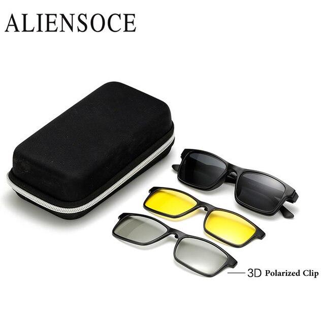 e3ccea9265fbb6 Männer Polarisierte Magnetische 3 STÜCKE Clip TR90 Myopie Gläser Leichteste Brille  Rahmen Mann Sonnenbrille Magnet Clip