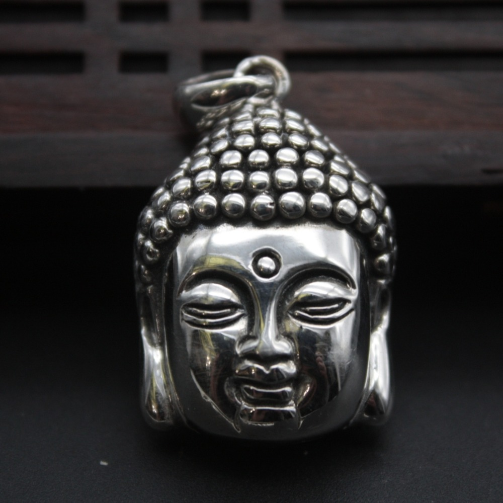 New Arrival Pure S925 Sterling Silver Womens Men  Buddha Head Pendant   40x23mmNew Arrival Pure S925 Sterling Silver Womens Men  Buddha Head Pendant   40x23mm
