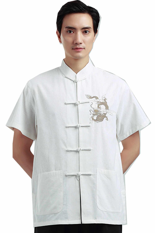上海ストーリー男のドラゴン刺繍トップ中国伝統トップ男性中国カンフー中国のシャツ用男性ドラゴンシャツ