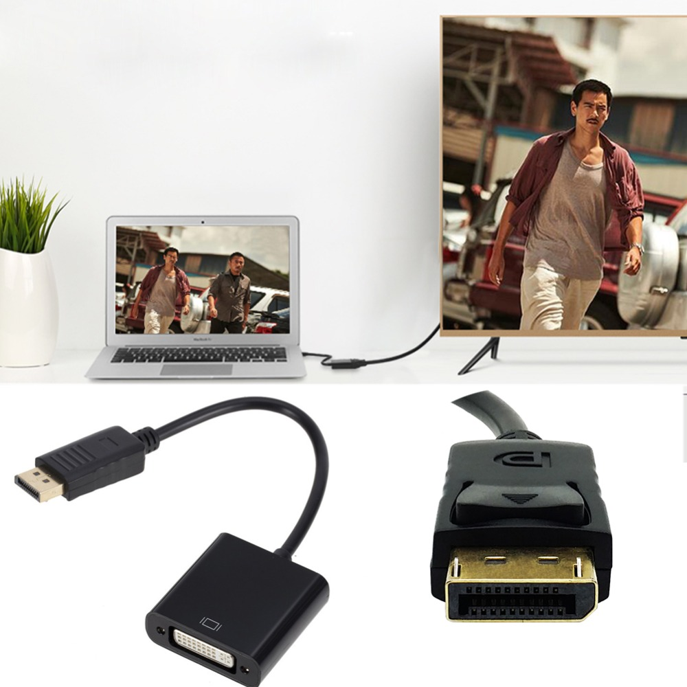 Image 2 - eCos Display Port To DVI Cable Adapter Converter Male To Female 1080P For Monitor Projector Displays #290425