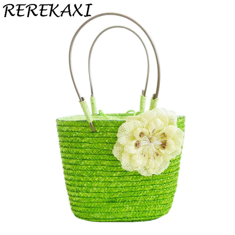 REREKAXI Summer Bohemian Straw Woven Women's Handbags  Women's Flower Shoulder Bag Lady's Beach Bag Small Grass Bags Totes beach straw bags women appliques beach bag snakeskin handbags summer 2017 vintage python pattern crossbody bag