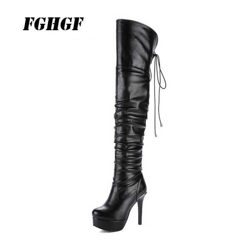 New autumn winter thin leg overknee boots round head super high heel oversize small size 33-48 female boots Waterproof Taiwan