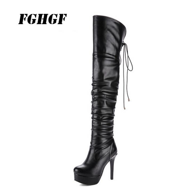 New autumn winter thin leg overknee boots round head super high heel oversize small size 33-48 female boots Waterproof Taiwan