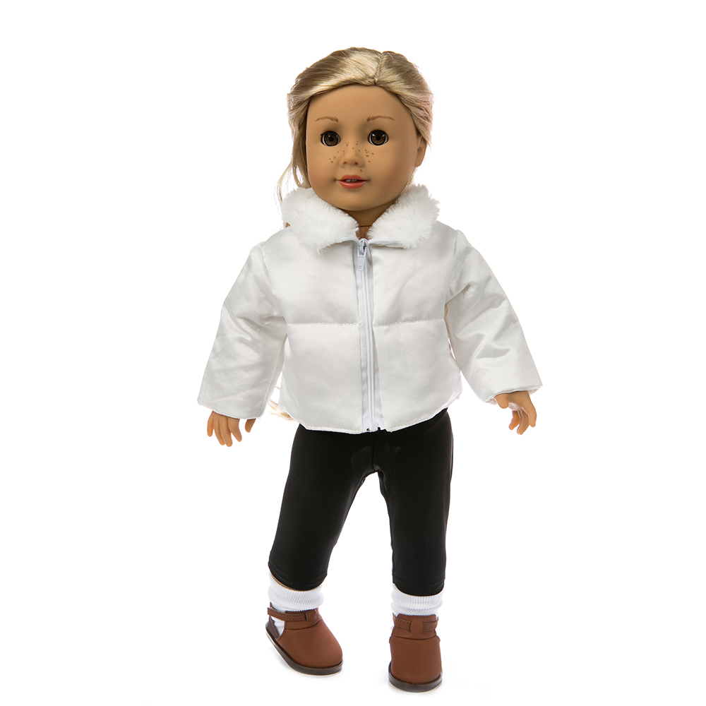 Doll Clothes 2 Pcs/Set White Jacket+Black Jeans Suit Fit 18 Inch American&43 Cm Baby New Born Doll Logan Boy Generation Girl`s